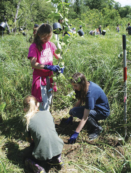 Ridge and Valley Students volunteer to planting trees along Paulins Kill