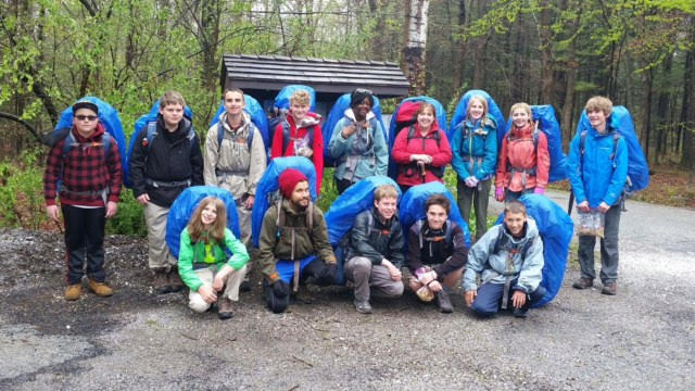 Ridge and Valley Charter School Outdoor Overnight Expeditions students with backpacks
